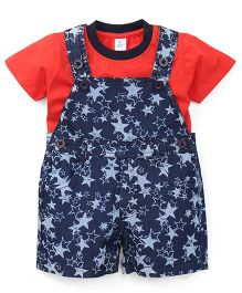 Toffyhouse Printed Denim Dungaree With Half Sleeves Inner Tee - Blue Red