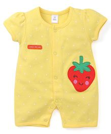 Toffyhouse Short Sleeves Romper With Dots and Strawberry Patch - Yellow