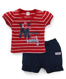 Toffyhouse Short Sleeves Stripes Top And Corduroy Shorts - Red Navy