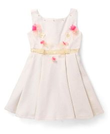Katibi Sleeveless Partywear Frock With Floral Motifs - Cream