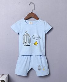 Pre Order - Awabox Birds Printed Tee & Shorts Set - Light Blue