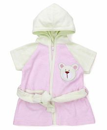 Pink Rabbit Half Sleeves Hooded Bathrobe - Pink