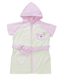 Pink Rabbit Half Sleeves Hooded Bathrobe - Green
