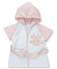 Pink Rabbit Half Sleeves Hooded Bathrobe - Blue