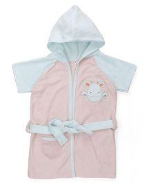 Pink Rabbit Half Sleeves Hooded Bathrobe - Peach