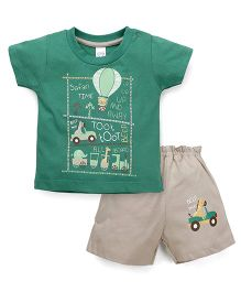 Pink Rabbit Short Sleeves Printed T-Shirt And Shorts - Green Beige