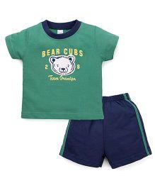 Pink Rabbit Half Sleeves T-Shirt And Shorts Set Bear Cub Print - Green