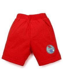 Pink Rabbit Solid Color Shorts With Patch - Red