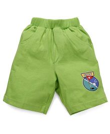 Pink Rabbit Solid Color Shorts With Patch - Green