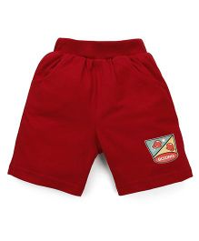 Pink Rabbit Solid Color Shorts With Patch - Maroon