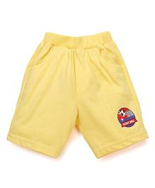 Pink Rabbit Solid Color Shorts With Patch - Yellow