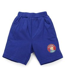 Pink Rabbit Solid Color Shorts With Patch - Royal Blue