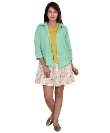 9teenAgain Printed NUrsing Tunic With Schiffli Jacket - Yellow Green
