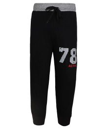 Haig-Dot Solid Color Track Pant With 78 Print - Black