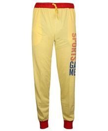 Haig-Dot Solid Color Track Pant With Sports Print - Yellow