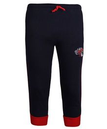 Haig-Dot Solid Color Track Pant With Drawstring - Navy Blue
