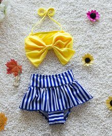Pre Order - Mauve Collection Bow Top & Print Shorts - Blue & Yellow