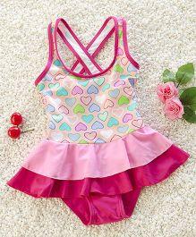 Pre Order - Mauve Collection Cross Neck Printed Swimwear - Pink & Multicolour