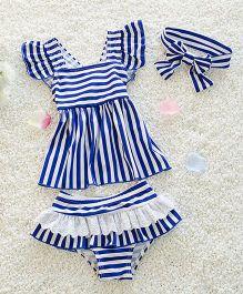 Pre Order - Mauve Collection Stripe Printed Swimwear - Blue