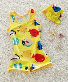 Pre Order - Mauve Collection Fish Printed Swimsuit - Yellow