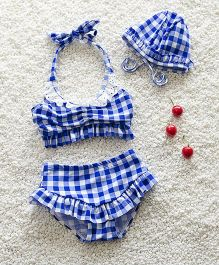 Mauve Collection Check Print Swimsets - Blue
