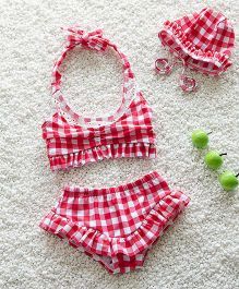Mauve Collection Check Print Swimsets - Red