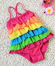 Pre Order - Mauve Collection Frill Rainbow Swimwear - Multicolour