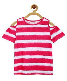 My Lil Berry Cold Shoulder T-Shirt - Pink & White