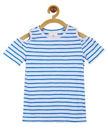 My Lil Berry Cold Shoulder Striped T-Shirt - Blue & White