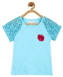My Lil Berry Raglan Lace Sleeves Top - Turquoise Blue