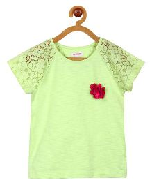My Lil Berry Raglan Lace Sleeves Top - Lime Green