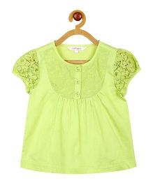 My Lil Berry Lace Yoke Linen Top - Lime Green
