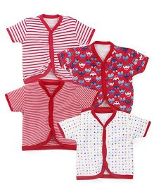 Kidi Wav Car Print Half Sleeves Vest Pack Of 4 - Red