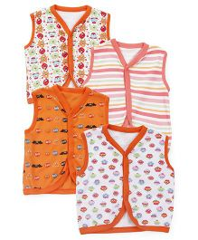 Kidi Wav Monster Print Sleeveless Vest Pack Of 4 - Orange