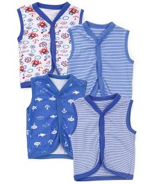 Kidi Wav Pirates Print Sleeveless Vest Pack Of 4 - Royal Blue