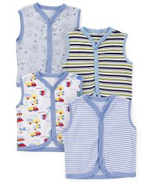 Kidi Wav Mini Digger Print Sleeveless Vest Pack Of 4 - Sky Blue