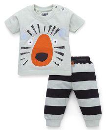 Mini Taurus Half Sleeves T-Shirt And Pants Set Lion Print - Grey Black