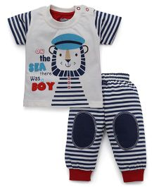 Mini Taurus Half Sleeves T-Shirt And Pants Set Sailor Print - Blue