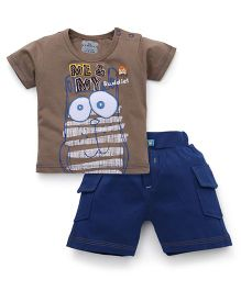 Mini Taurus Half Sleeves T-Shirt And Shorts Set Printed - Brown Blue