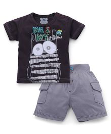 Mini Taurus Half Sleeves T-Shirt And Shorts Set Printed - Grey