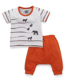Mini Taurus Half Sleeves Printed T-Shirt And Diaper Pant Set - Rust