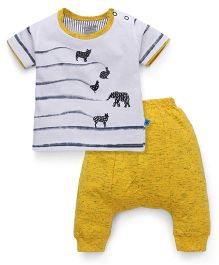 Mini Taurus Half Sleeves Printed T-Shirt And Diaper Pant Set - Mustard