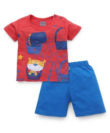 Mini Taurus Half Sleeves T-Shirt And Shorts Set Cute Print - Red Blue