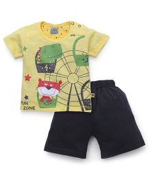 Mini Taurus Half Sleeves T-Shirt And Shorts Set Cute Print - Lemon Grey