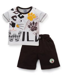 Mini Taurus Half Sleeves T-Shirt And Shorts Set Wild Print - White Brown