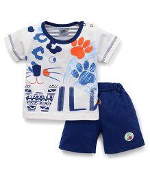 Mini Taurus Half Sleeves T-Shirt And Shorts Set Wild Print - White Blue