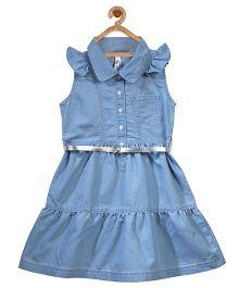 Stylestone Denim Two Tier Dress With Silver Belt - Blue