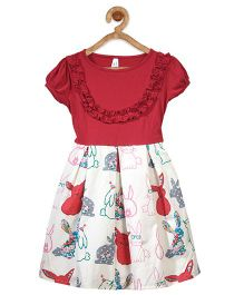 Stylestone Rabbit Printed Box Pleat Dress - Red & Off White