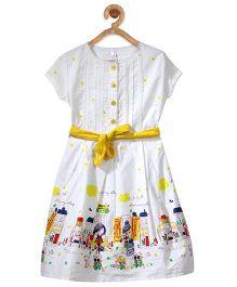 Stylestone City Printed Box Pleat Dress With Belt - White & Yellow