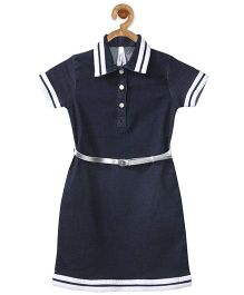 Stylestone Navy Adopted Striped Design Dress With Belt - Navy Blue & White